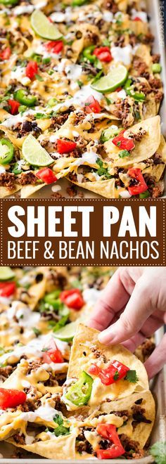 Sheet Pan Beef and Black Bean Nachos - These sheet pan nachos are sure to be a crowd pleaser! Layer after layer of mouthwatering flavor, smothered with a jalapeño cheese sauce and loaded with classic nacho toppings! Easy Appetizer Recipes, Yummy Appetizers, Dinner Recipes, Yummy Snacks, Mexican Food Recipes, Beef Recipes, Cooking Recipes, Pan Cooking, Gourmet