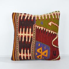 Decorative Pillows, KP808, Designer Pillows, Kilim pillow, Bohemian Decor, Wool Pillow,  Bohemian Pillow, Accent Pillows, Throw Pillows by BlackFigDesigns on Etsy https://www.etsy.com/listing/260180939/decorative-pillows-kp808-designer