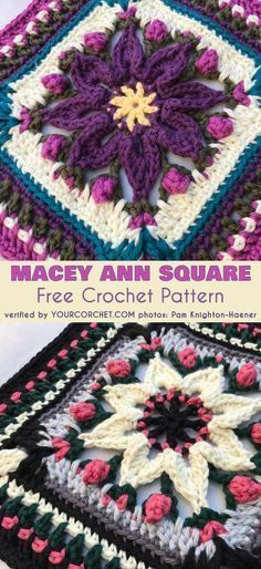 Macey Ann Square for Afghan Pillow Tote Free Crochet Pattern This beautiful pattern is designed in two sizes – small x and large x You can use the small size for a blanket or the large square as a center piece for a blanket, a pillow or tote. Crochet Squares Afghan, Crochet Motifs, Crochet Blocks, Crochet Afghans, Granny Square Crochet Pattern, Crochet Flower Patterns, Crochet Pillow, Afghan Crochet Patterns, Crochet Granny
