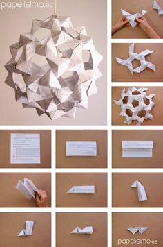 Yo sigo con mis lámparas, y una idea que me rondaba por la cabeza era haceruna esfera de origami, pero que dejase pasar la luz para poder usar como lámpara. Si te gusta, no te pierdas todos los modelosal final. Usando otra vez un icosaedro truncado (la misma forma geométrica que una...