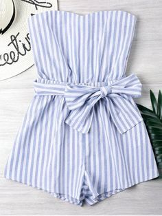 Striped Tube Romper blue striped gown summer time o Striped Tube Romper blau gestreiftes Kleid Sommer o Cute Rompers, Rompers Women, Jumpsuits For Women, Blue Jumpsuits, Playsuits, Blue Summer Dresses, Summer Dress Outfits, Cute Outfits, Dress Summer