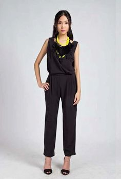 Best fit for M-size girls at least 158cm. Effortlessly Chic True Black Jumpsuit $25 (local normal postage included) UP31.50 imported    BRAND NEW, Made of soft polyester.   Great for work if worn with blazer and great for smart casual TGIFs!
