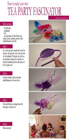 easy tea party fascinator! Diy handmade headbands party favors for girl birthday