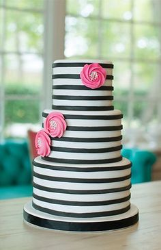 Beverly's Best Bakery Tour - Black and white striped cake with pink floral details