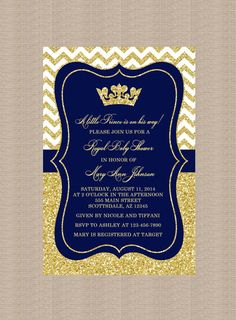 Prince Baby Shower Invitation, Royal Blue Gold Baby Shower Invitation, Little Prince, Gold Glitter, Printable Baby Shower Invitation