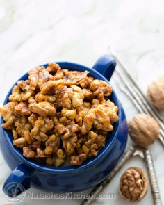 5 minute Candied Walnuts: 1 cup nuts 1/4 cup white granulated sugar 1 Tbsp butter 1 tsp vanilla optional -heat medium pan to medium heat, add everything, stir for 5 min, until sugar is melted and nuts are coated, and then spread and separate nuts (quickly) on parchment paper and cool 5 min.