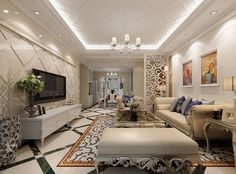 White Classic Living Room And Dining Room