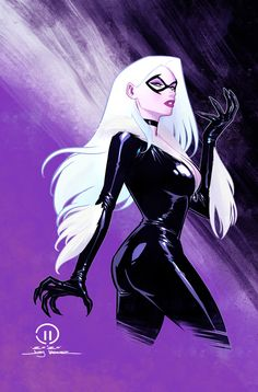 Black Cat - artwork by Joey Vasquez Spiderman Black Cat, Spiderman Girl, Black Cat Marvel, Marvel Art, Marvel Comics, Black Cat Comics, Dylan Dog, Marvel Characters, Catwoman