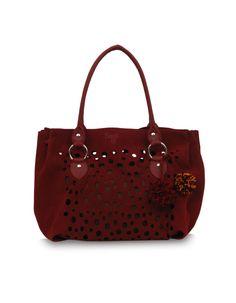 Falero Swed Red - a medium sized laser cut ruby toned Baggit bag.