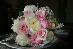 pink roses and white peonies bridesmaid bouquet - Google Search
