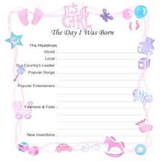baby record book printable pages - Google Search