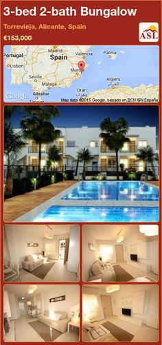 Bungalow for Sale in Torrevieja, Alicante, Spain with 2 bedrooms, 1 bathroom - A Spanish Life Valencia, Portugal, Oak Wardrobe, Torrevieja, Bungalows For Sale, Concrete Structure, Alicante Spain, Language School, Reinforced Concrete