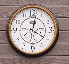 Oxford Outdoor Waterproof Clock with Thermometer – Bronze