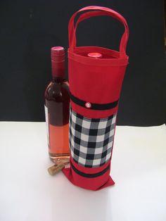 CHECKERED WINE BAGS  red checkered wine bags  checkered wine