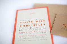 childrens museum wedding orange invite
