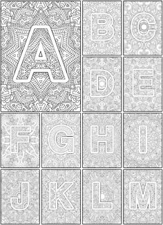 Color the Alphabet A-Z Adult coloring book - Sarah Renae Clark - Coloring Book Artist and Designer Coloring Pages For Grown Ups, Free Adult Coloring, Printable Coloring Pages, Coloring Pages For Kids, Alphabet Coloring Pages, Coloring Sheets, Coloring Books, Alphabet A, Ecole Art