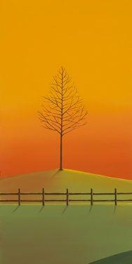 Skies of Gold, Autumn, Fall, Triptych, Tree, Landscape, Sun, Field, Fence