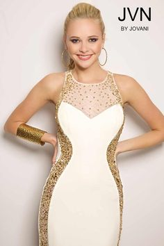 White jersey long dress with sheer neckline and open back