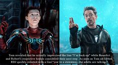 Robert Downey Jr & Tom Holland being the best. Avengers Humor, Funny Marvel Memes, Marvel Jokes, Marvel Dc Comics, Marvel Avengers, Marvel Heroes, Captain Marvel, Fandoms, Dc Movies