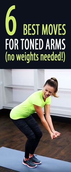 6 best exercises for TONED ARMS (no weights needed!) #armworkout #bodyweightworkout #tonedarms #tonedshoulders