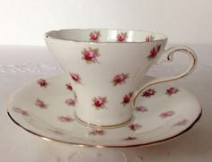 Aynsley Corset China Tea Cup & Saucer Rosebuds. $19.99 by TheEclecticAvenue on Etsy