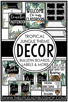 Get ready for back to school with the Tropical Jungle decor theme! This editable set is fun, unique, and has everything you need to decorate your classroom with a cohesive look. The perfect DIY bundle for any elementary classroom, including posters, name plates, alphabet posters, teacher notebook, organization labels, bulletin board decor, and more! #thelittleladybugshop