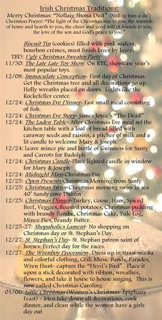 Irish Christmas Traditions: I especially like the last one.yes, I believe I will embrace my Irish heritage! Irish Christmas Traditions, Irish Wedding Traditions, Christmas In Ireland, Celtic Christmas, Holiday Fun, Christmas Holidays, Xmas, Christmas Ideas, Merry Christmas
