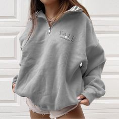 Hoodies & Sweatshirts, Womens Casual Standing Collar Loose Sweatshirt Sweatshirt Outfit, Collared Sweatshirt, Cute Comfy Outfits, Trendy Outfits, Fall Outfits, Summer Outfits, Cute Casual Dresses, Comfy Clothes, Zalando Outfit