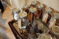 A Woodland Baby Shower- s'more's in mason jars favors