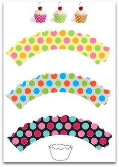 Printable Polka Dot Cupcake Wrappers