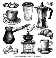 Vector collection of ink hand drawn vintage coffee illustration isolated on white background for restaurant or cafe menu. Vintage coffee and pastry  illustration
