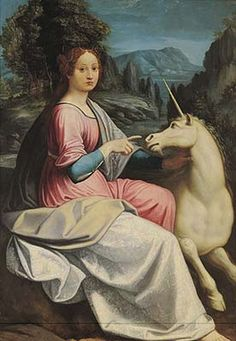 The Lady and the Unicorn Depicted person: possibly Giulia Farnese by Luca Longhi 16th century painting on wood Museo di Castel Sant'Angelo, Rome (Castel Sant'Angelo is loaded with artwork of Unicons)