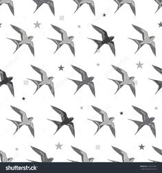 Vector Flying Martins and Swallows Birds Diagonal Seamless Pattern