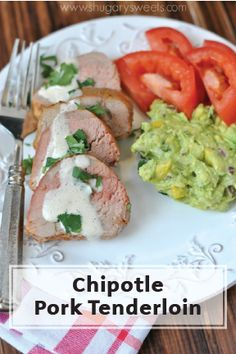 This Tender Pork Tenderloin, seasoned with a chipotle marinade and drizzled with a cilantro lime sauce, is a unique dinner recipe! This is one weeknight dinner dish that your whole family will love.