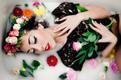 Beautiful milk bath model flower crown flowers Sarah Pekins photography