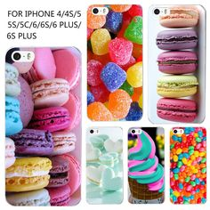 Caja del teléfono para iphone 4 4s 5 5s se 6 6 s moda De Plástico Duro de Color Helado de Postre Macarons Estilos de Tapa Dura