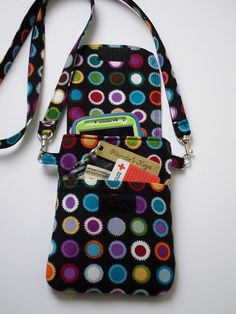 Cell Phone Purse Cross Body Shoulder Bag Pouch Case / Colorful Dots / Black / Fits iPhone 5 and 6 Plus,  Samsung Galaxy s4, s5, & more