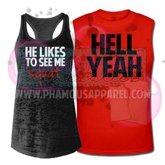 Adorable couples tanks for you and your swolemate! LADIES: The ladies tank is a BLACK burnout racerback tank top as shown in photo. Very soft and