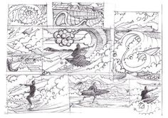 Surfing sketch work. By Huw williams