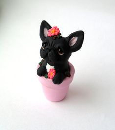 French Bulldog in Flower Pot polymer handcrafted dog sculpture Cute Polymer Clay, Polymer Clay Animals, Cute Clay, Polymer Clay Miniatures, Polymer Clay Projects, Polymer Clay Charms, Polymer Clay Creations, Diy Clay, Clay Crafts