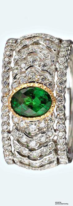 http://rubies.work/0575-emerald-rings/ Buccellati Emerald and Diamond Band Ring