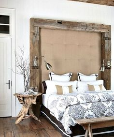 Beach House Bedroom Design Idea in Neutral Tones, Black  white toile print with beige stripes. Driftwood side table, rafter beams headboard. LOVE IT!