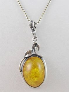 Marked 925 STERLING Silver Genuine AMBER Pendant Necklace #Pendant