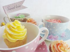 beautiful pastel colors cupcakes, vanilla with lemon and raspberry frosting. Perfect for Wedding or Birthday party.