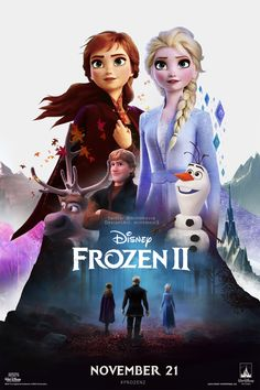 "Frozen II, is an 2019 American animated musical fantasy film produced by Walt Disney Animation Studios. The film received a nomination for Best Original Song for ""Into the Unknown"", at the Academy Awards. Frozen Disney, Film Frozen, Princesa Disney Frozen, Frozen Two, Frozen Queen, Olaf Frozen, Walt Disney Animation Studios, Frozen Wallpaper, Fan Poster"