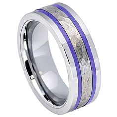 Tungsten Wedding Ring Set Blue Two Tone 6mm 8mm Anniversary Bands Men Women His Her Personalized Handmade Custom Free Laser Engraving