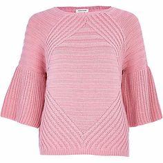 Pink frill sleeve geometric sweater - sweaters - knitwear - women
