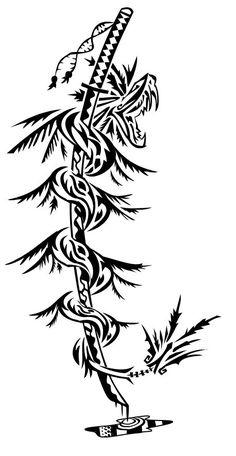 Rod asclepius Boceto tattoo kukulkan katana tribal