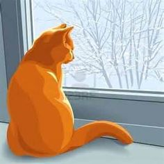 Illustration - red british cat sits on the windowsill in the winter and looking out the window at the snow-covered trees    http://www.123rf.com/photo_10954205_red-british-cat-sits-on-the-windowsill-in-the-winter-and-looking-out-the-window-at-the-snow-covered-.html