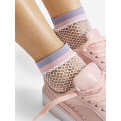 2ba6f174e Striped Hem Fishnet Socks Multicolor